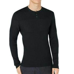 Alfani Ribbed Blocked Fitted Henley Sweater Black